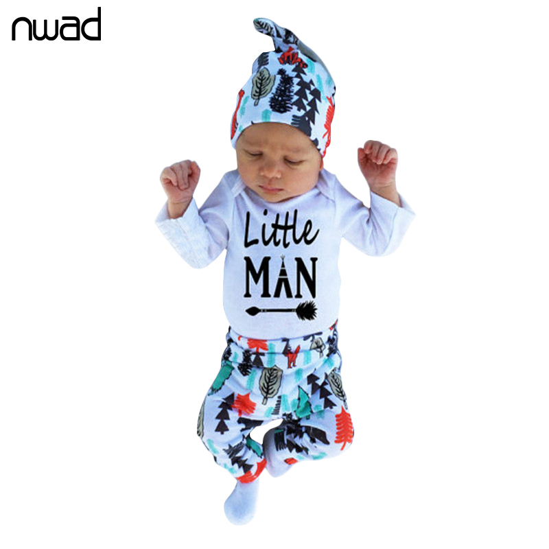 3PCS/Set Fashion Baby Girl Boy Clothes 2017 Spring Autumn Cotton Newborn Baby Clothing Set Bodysuit +Tree Print Pant +Cap FF240 2017 hot newborn infant baby boy girl clothes love heart bodysuit romper pant hat 3pcs outfit autumn suit clothing set