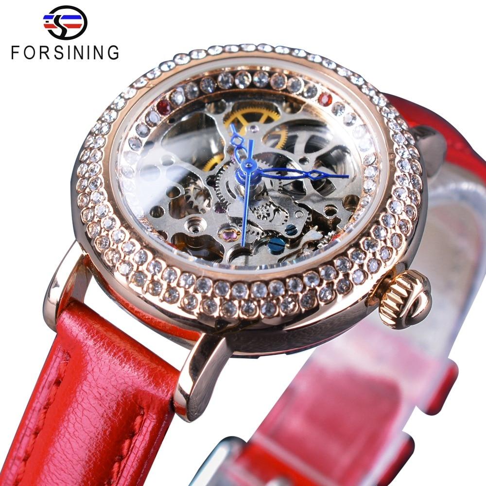 Forsining Top Brand Fashion Red Ladies Diamond Design Female MILAN Street Women Casual Automatic Skeleton Wrist Watch Clock