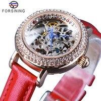 Forsining Top Brand Fashion Red Ladies Diamond Design Female MILAN Street Women Casual Automatic Skeleton Wrist