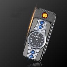34b83d5c160 Relógios Relógio USB Recarregável Mais Leve Cigarro Eletrônico Isqueiro Sem  Chama Isqueiro À Prova de Vento