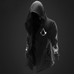 Autumn Winter Hoodies Men Long Sleeve Sweatshirts Black Cloak Shawl Outwear Streetwear Style Hooded Men's Plus 1