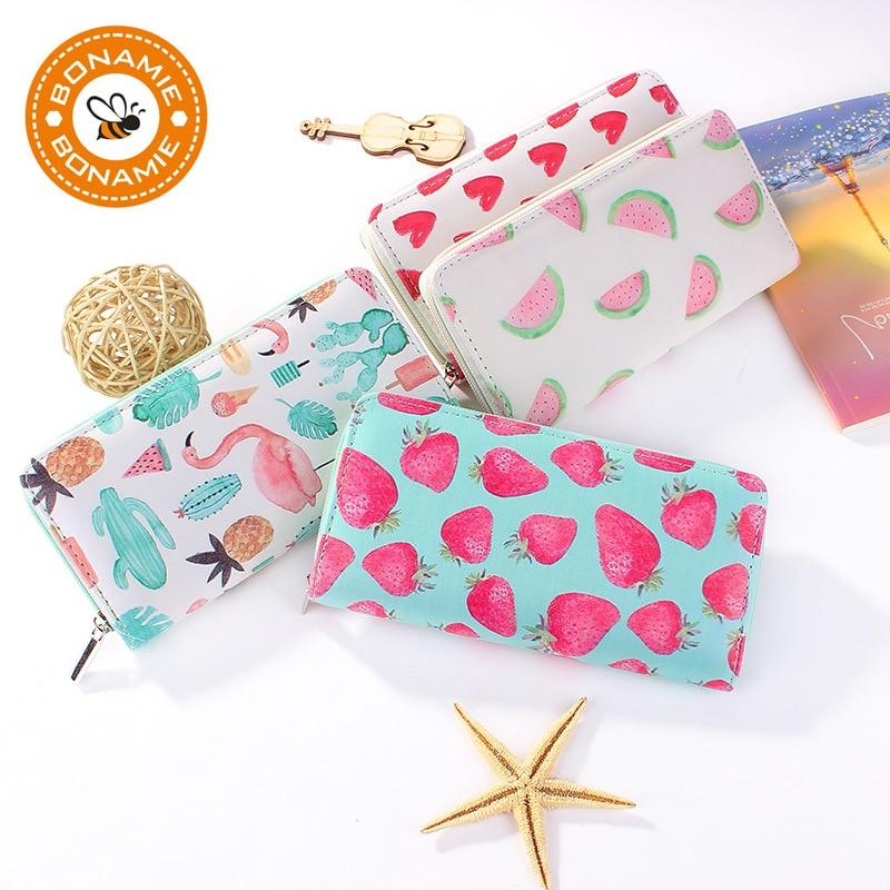 BONAMIE New High Quality Modern Women Leather Clutch Wallet Brand Printing Love Strawberry Watermelon Flamingo Purse