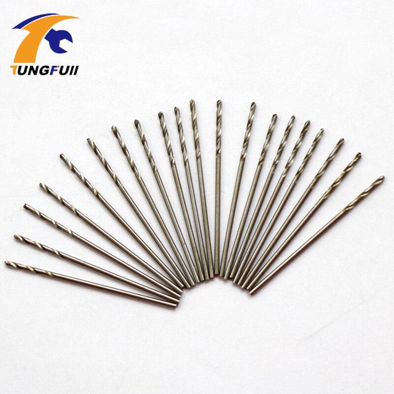Tungfull 20pcs Micro HSS Drill Bits 0.8mm Straight Twist Drill Bits Electric Drill Power Tools goxawee 10pcs micro hss drill bits 0 5 0 6 0 7 0 8 1 0 1 2 1 5 2 0 2 5 3mm straight twist drill bits electric drill power tools