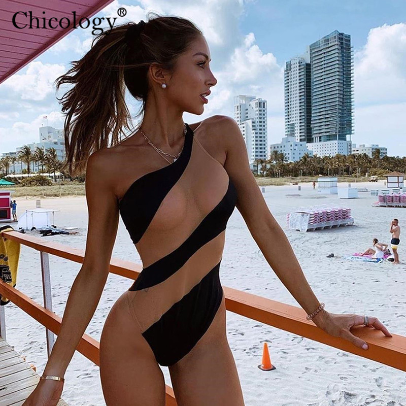 Chicology See Though Mesh Patchwork One Shoulder Lady Body Suit Sleeveless Women Sexy Bodysuit 2019 Summer Female Clothing