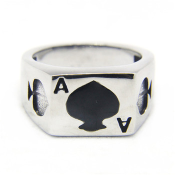 Support Dropship Size 7-13  Poker Spade Ace Ring 316L Stainless Steel Jewelry 1
