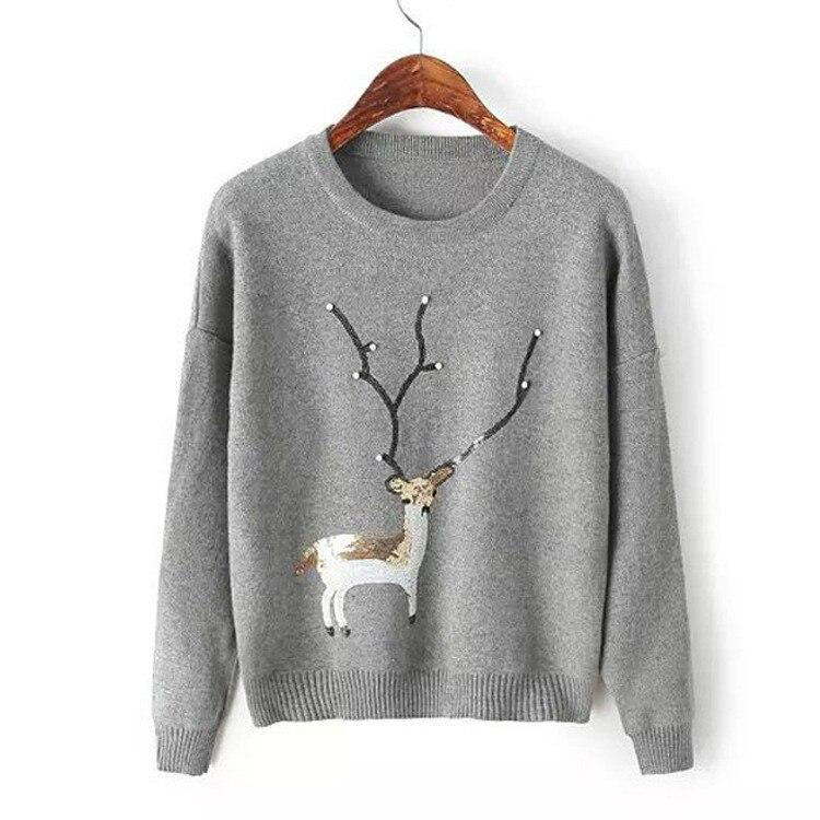mujeres suéter del otoño del resorte nueva perla de corea de las lentejuelas co