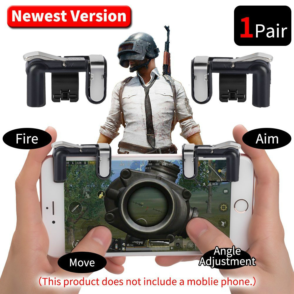 Mobile Phone Game Fire Button Version 6 Smart Phone Mobile Gaming Trigger L1+ R1 Shooter For Knives Out/ Rules Of Survival/ PUBG image