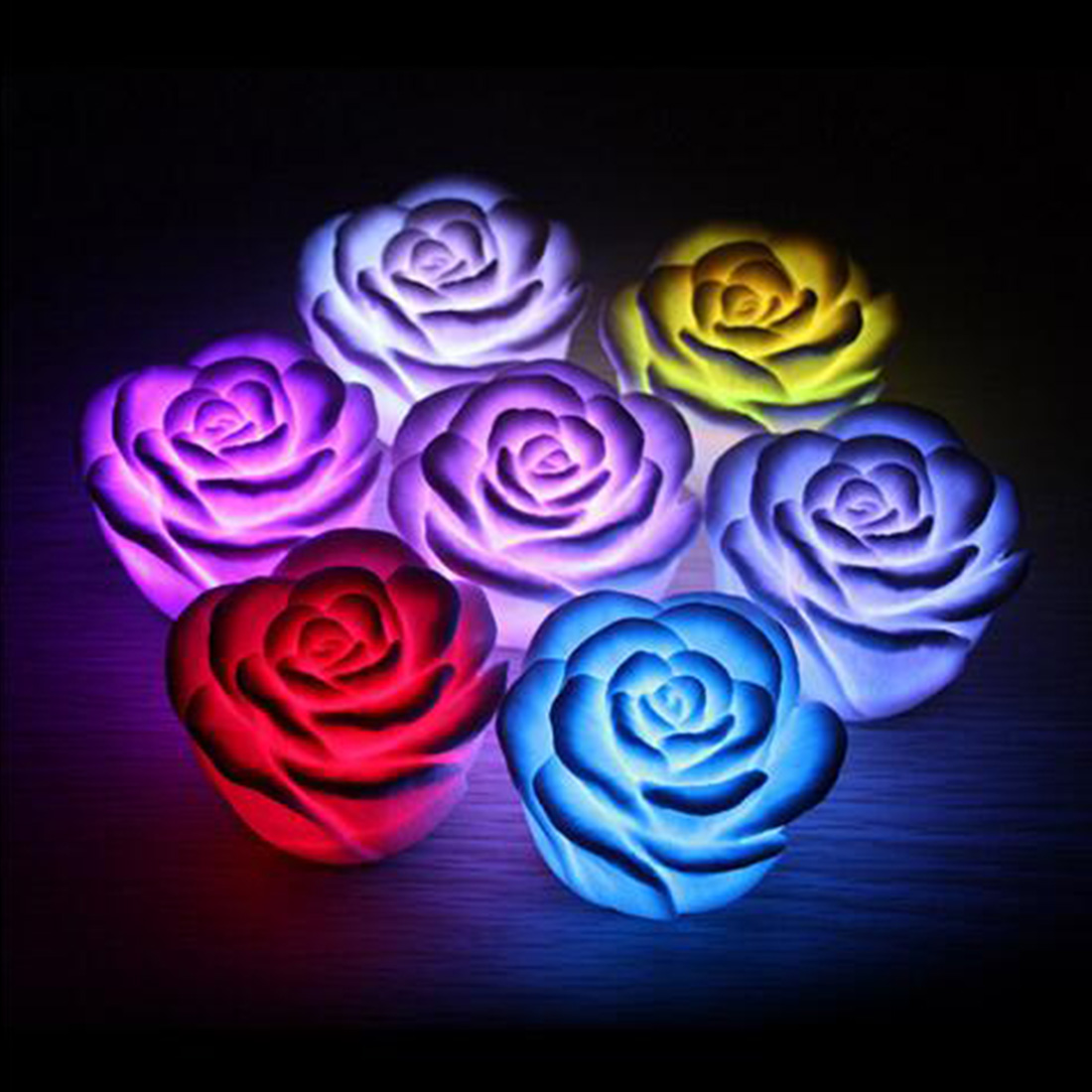 Fashion LED night lamp Romantic Rose Flower night light Color changed Lamp LED night lights Interior