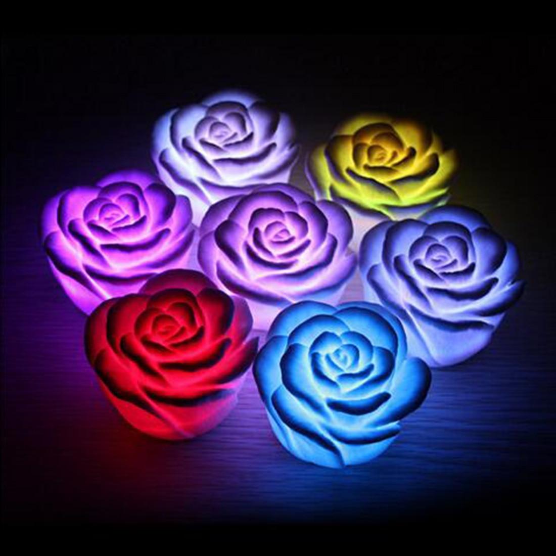 Fashion LED night lamp Romantic Rose Flower night light ...