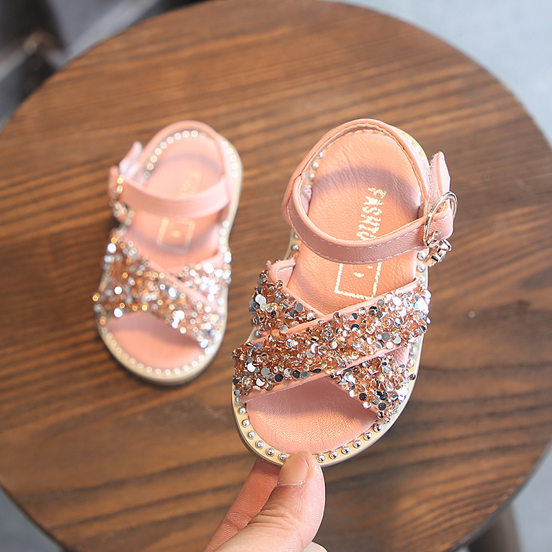 Summer New Fashion  Rhinestone Princess Sandals 1-3 Years Old Baby Girls Shoes Summer Toddler Girl Slippers  Kids Shoes