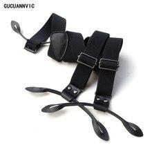 NEW black suspenders Style genuine leather elastic button type suspenders casual mens braces width 3.0CM