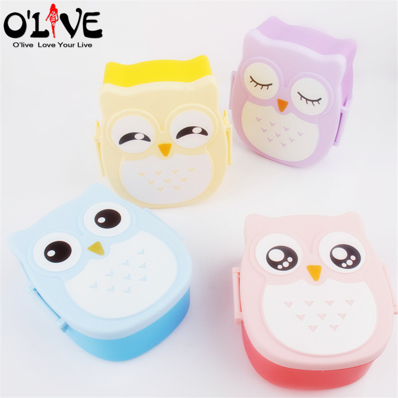 owl lunch box set plastic launch box bento food container with fork school lunch boxes kids. Black Bedroom Furniture Sets. Home Design Ideas