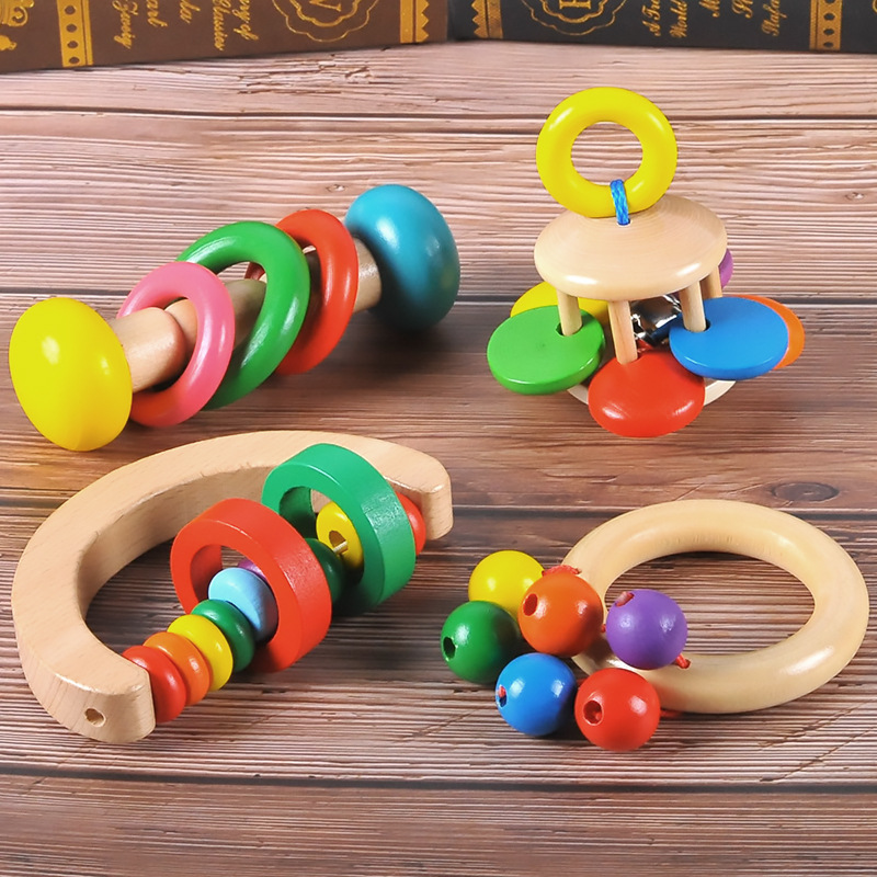 Infant Wooden Bed Bell Orff Instrument Rattle Newborn Early Education Music Educational Toys 0-1 Years Old Super Quality& Safe