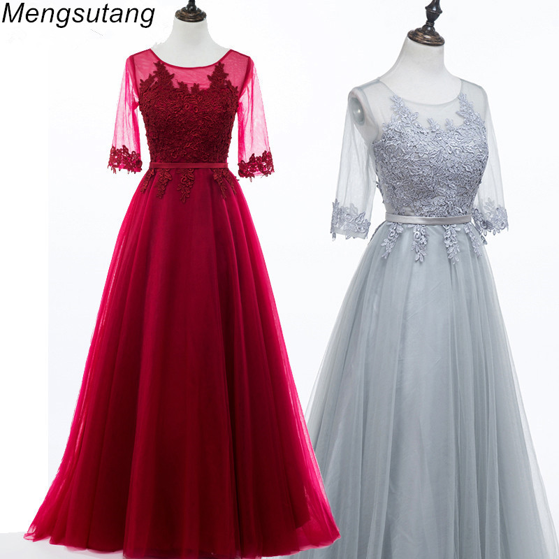 Robe De Soiree 2020 Scoop Neck Half Sleeve Transparent Lace Embroidery A-line Long Evening Dress Vestido De Festa Prom Dresses