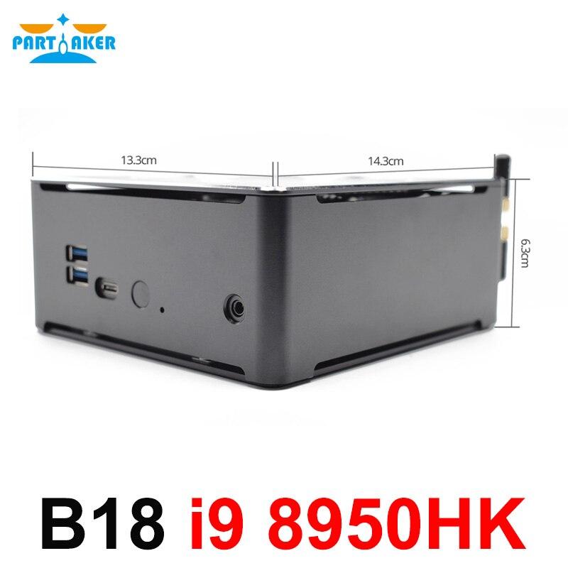 Parpreneur Intel i9 8950HK 6 Core 12 fils Mini PC Windows 10 Pro 2 * DDR4 AC Wifi ordinateur de bureau HDMI
