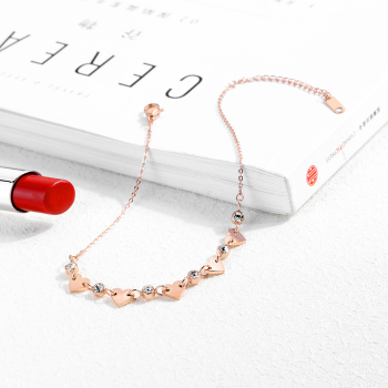 Zircon Love Heart Anklet Rose Gold Color Titanium Stainless Steel Material Anklets Fashion Trendy Women Jewelry Gift 2