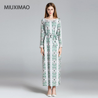 Europe Fashion 2017 Autumn Newest Beading O Neck Full Sleeve Shivering Print With Sashes Temperament Ankle