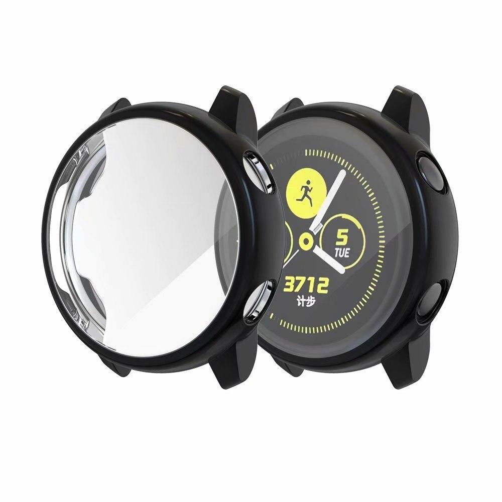 Ультратонкий Мягкий чехол для samsung Galaxy Watch Active, прозрачный защитный чехол из ТПУ для Galaxy Active, 40 мм, полностью силиконовый чехол - Цвет: Черный