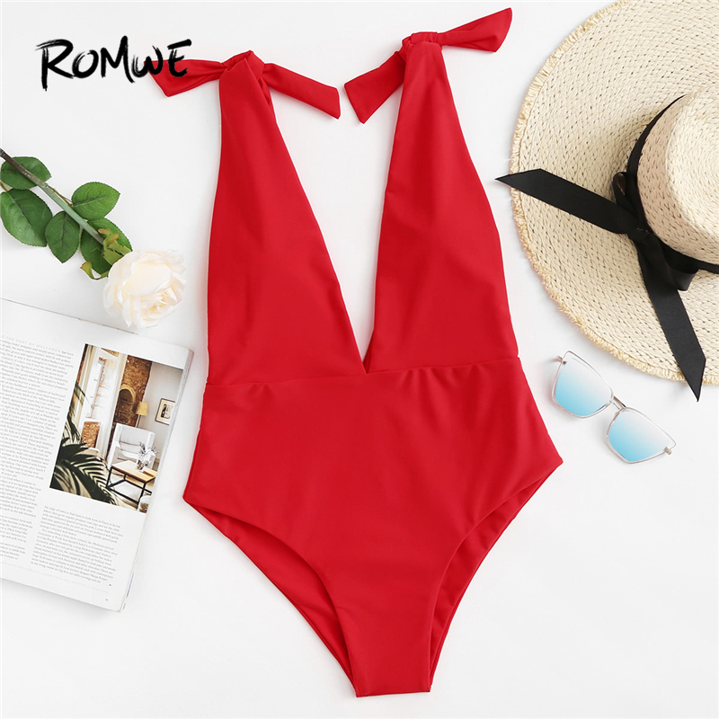 Romwe One-Piece Swimsuit Swimming-Pool Bow-Shoulder Women V-Neck Sport Beach Summer Deep