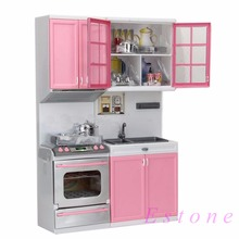 Red Pink Kids Kitchen Pretend Play Cook Cooking Set Cabinet Stove Fun Toys