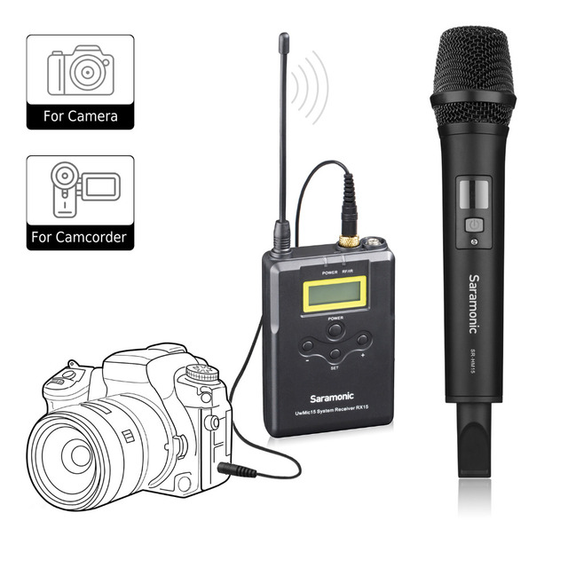 Saramonic Uwmic15A UHF אלחוטי כף יד ראיון מערכת מיקרופון להקלטת וידאו, ניקון, Canon