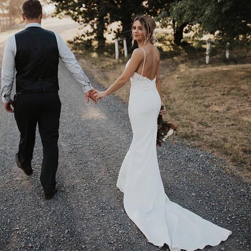 Сексуальные свадебные платья Русалочки с v образным вырезом на бретельках, атласные аппликации без рукавов, свадебные платья без спинки, 2019 - 3