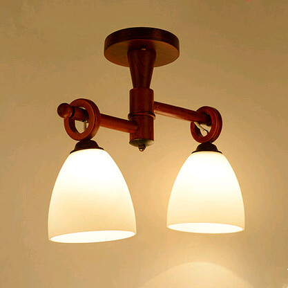 Modern creative hand-made wood LED pendant lights Quaint rural style glass two lamps for stairs&porch&corridor VPU004
