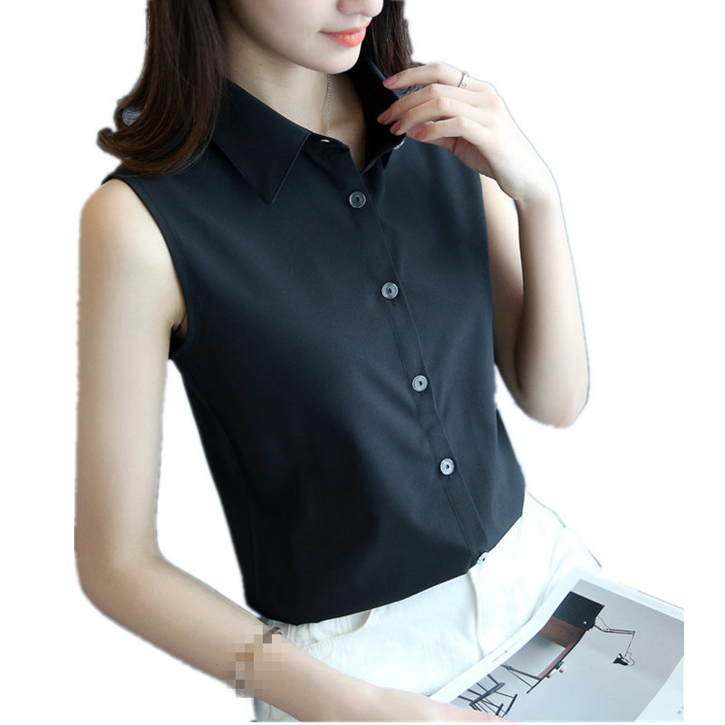 New Fashion Women Sexy Turn Down Collar Blouse Sleeveless Plus 4XL Solid Color Shirt Elegant Casual Brand Design Tops MZ1504(China)