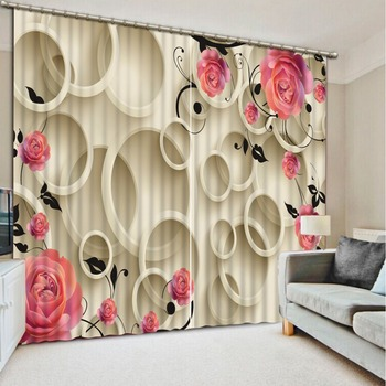 3d curtain European Style Top Quality Curtain window room 3d pink roses Curtain window room Home Decoration