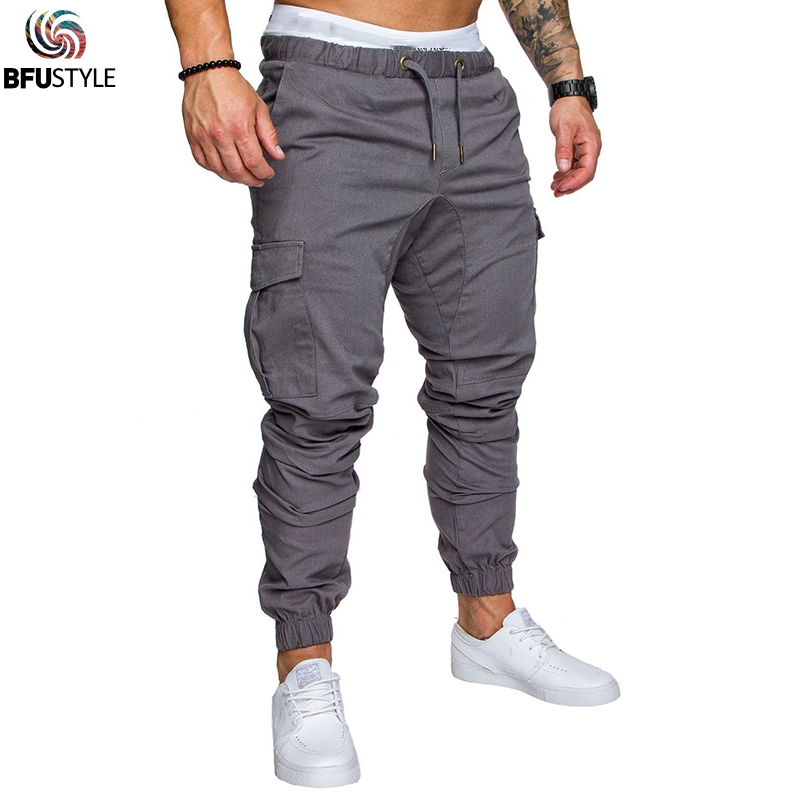 Men's Overalls Trousers Casual Side Pockets Pencil Pants Hip Hop Cargo Sweatpants Joggers Trousers Male Full Length Pants