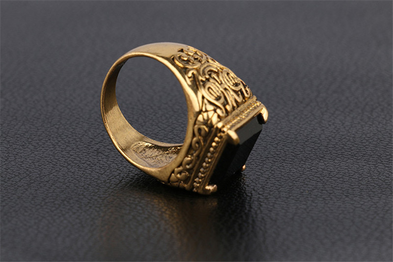 Medieval Jewelry GoldSilver Plated Black Res Color Square Resin