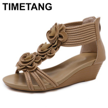 TIMETANG Gladiator Sandals Summer New Woman Fashion Platform Mid Heels Open Toe Wedge Sandals Soft Leather Sexy Casual Shoes
