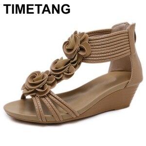 Image 1 - TIMETANG Sandalias de gladiador para mujer, zapatos de plataforma a la moda, con tacones medios y Punta abierta, informales, de cuero suave, novedad de verano
