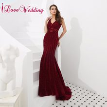 80f0014b3 2019 nueva moda Sexy V cuello vino rojo con cuentas de cristal  personalizado Formal largo de baile vestido de fiesta vestido de .