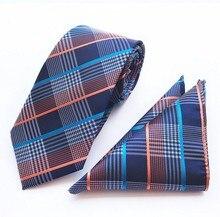 8cm tie set check floral men's necktie for men plaid handkerchief neck tie set business neckwear ascot shirt accessories