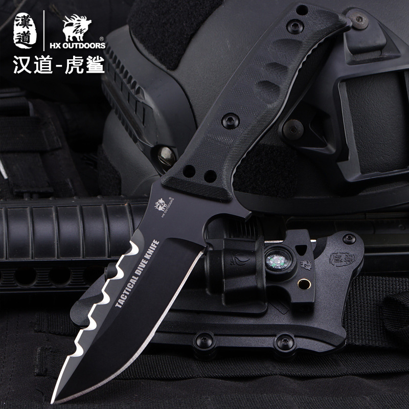 HX OUTDOORS tiger sharks D2 steel tactical field survival knife knife diving straight knife self-defense tool with outdoor knife hx outdoors army survival knife outdoor tools high hardness straight knives essential tool for self defense cold steel knife