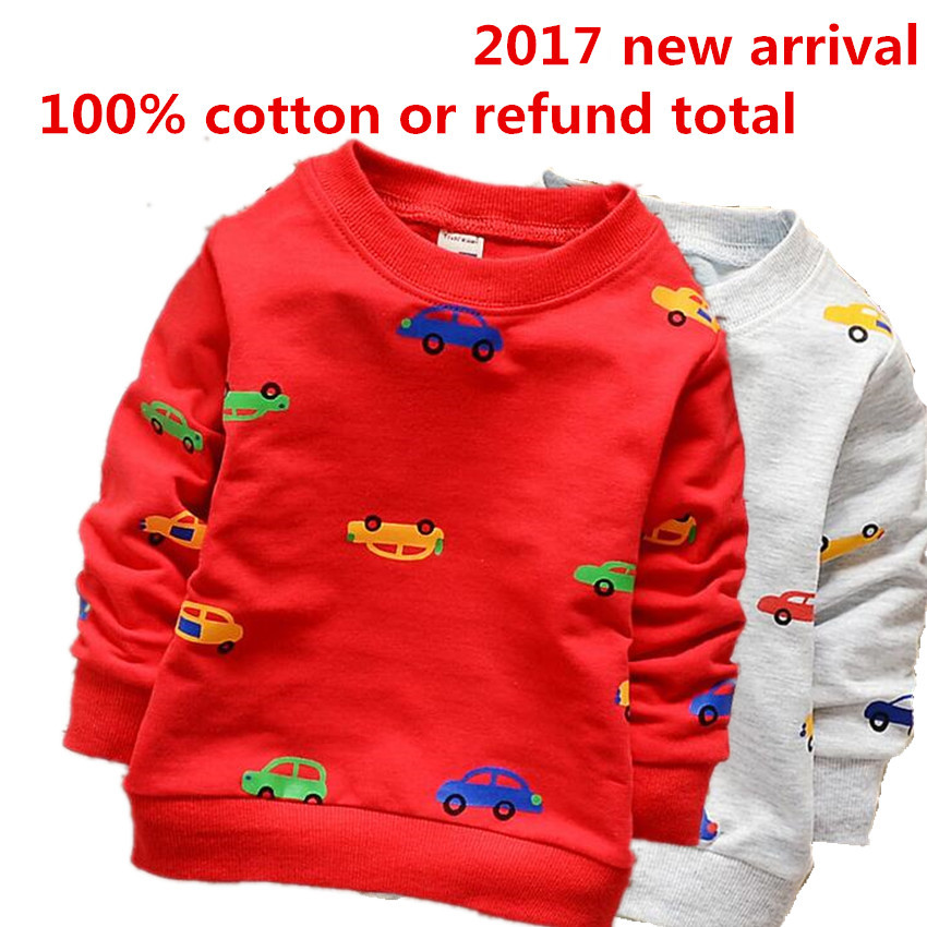 2017 Boys Clothes Hoodies Clothing Fashion Spring Boy's Suit 100% Cotton Tracksuit,Long Sleeve Cartoon Car Sweatshirt W007