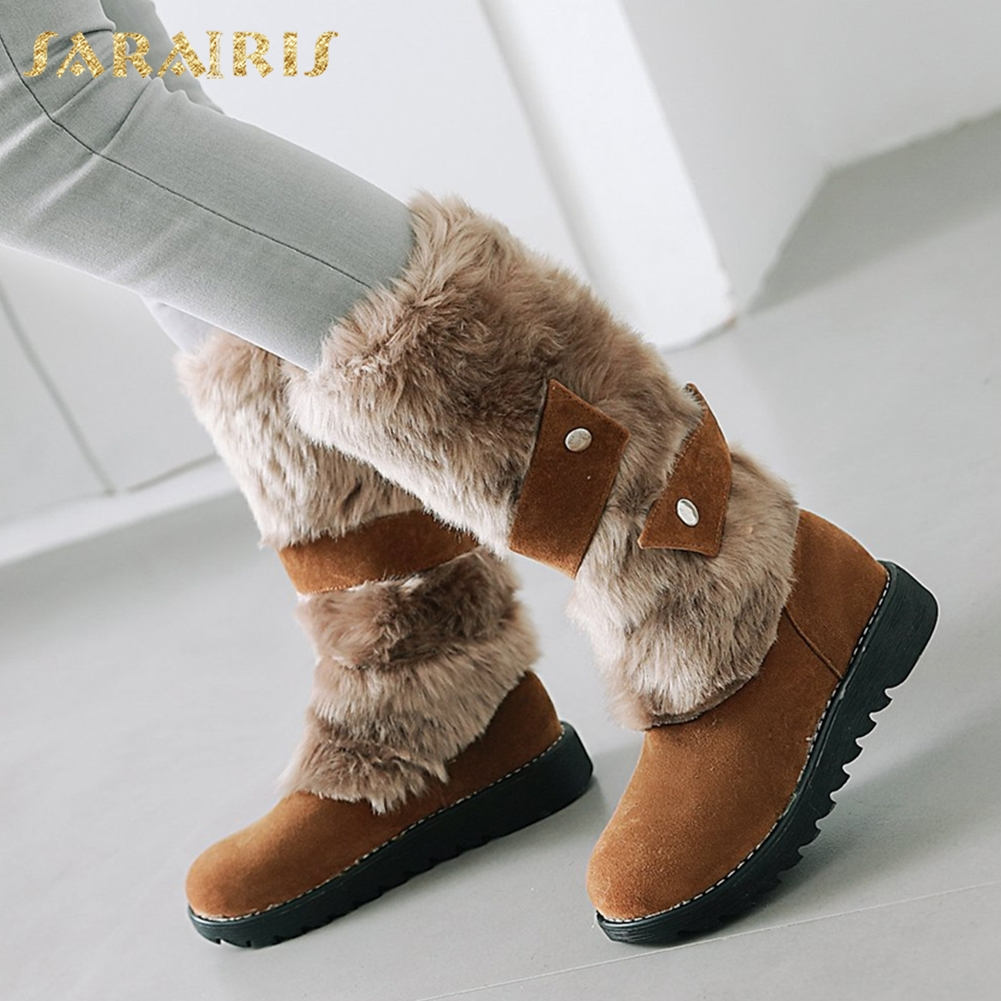 SARAIRIS NEW arrivals big size 34-43 wholesale dropship winter warm plush Women Shoes Woman comfort fur warm woman snow boots