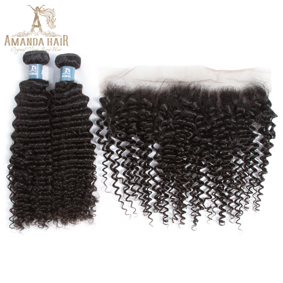 Amanda 	Peruvian  Virgin Hair Kinky Curly 3 Human Hair  Bundles With 4x13 Lace Frontal Closure Natural Color