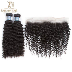 Amanda Human-Hair-Bundles Closure Peruvian 3 with 4x13 Lace-Frontal Natural-Color Virgin-Hair