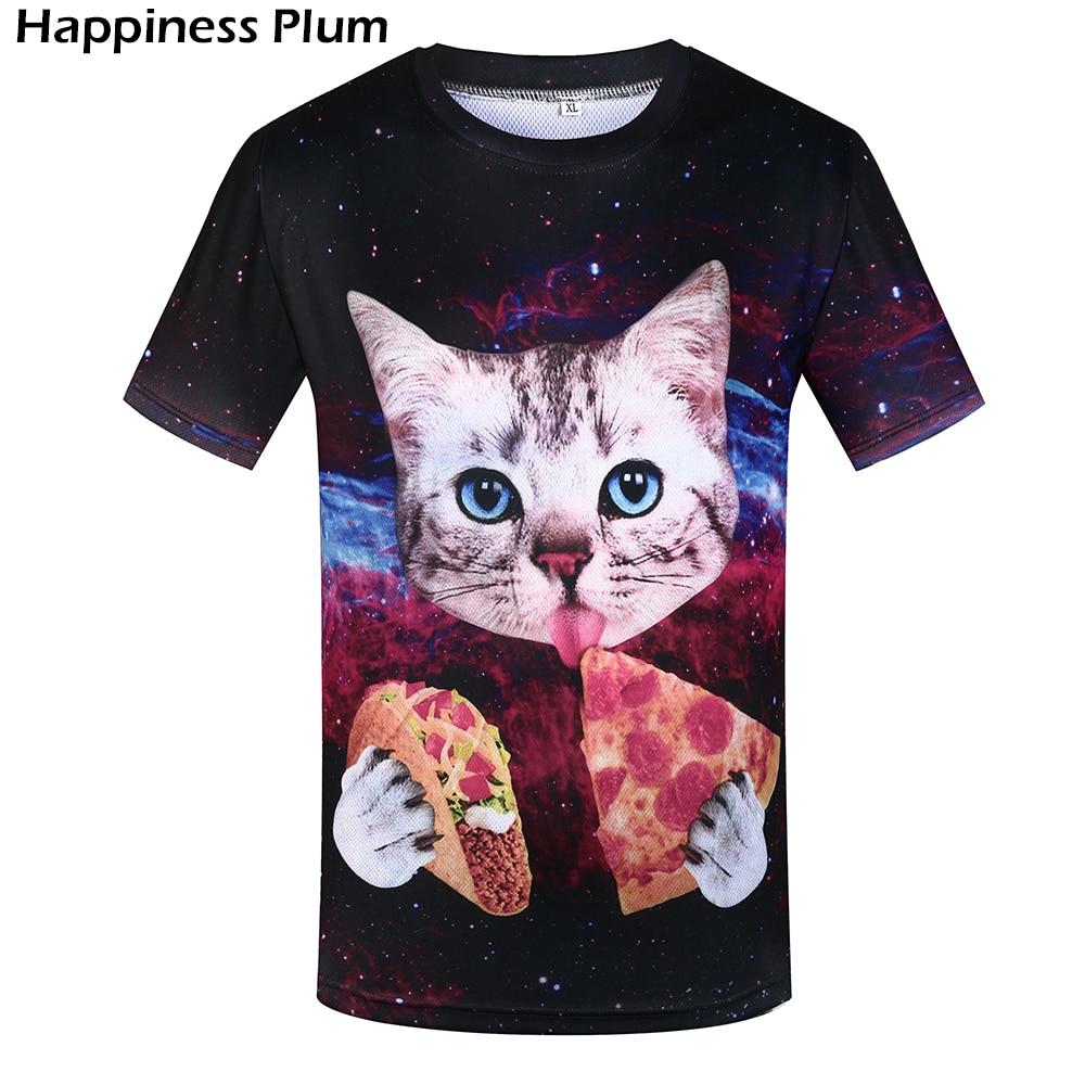 KYKU Gato Camiseta Hombres Camiseta Divertida Camisetas Comiendo - Ropa de hombre