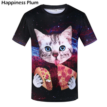 S-4XL Corn Cob Mens T-Shirt Funny Space Cat Eating Pizza T-shirts 3D Printed T Shirt Men Brand Clothing Hip Hop Tshirt Tee Tops