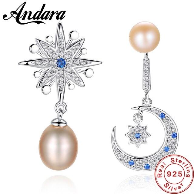 414540423 925 Sterling Silver Crescent Half Moon & Star Dazzling Blue CZ Stud  Earrings Silver Pearl Jewelry Earring for Women