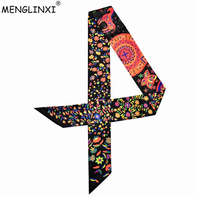 2020 New Design Bag Ribbons Small Floral Print Women Silk Scarf Fashion Brand Head Scarf Long Scarves For Handbag Wholesale