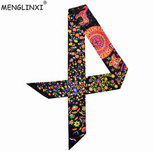 2020 New Design Bag Ribbons Small Floral Print Women Silk Scarf Fashion Brand He
