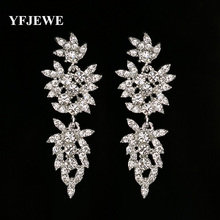 Pendientes largos YFJEWE de cristal para mujer, pendientes Vintage chapados en plata de flores para novia, accesorios de joyería de boda # E230
