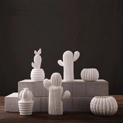 US $22.0 |Fatti a mano di ceramica creativa cactus bianco ornamenti  soggiorno arredamento moderno e minimalista ornamenti di ceramica  decorazioni per ...