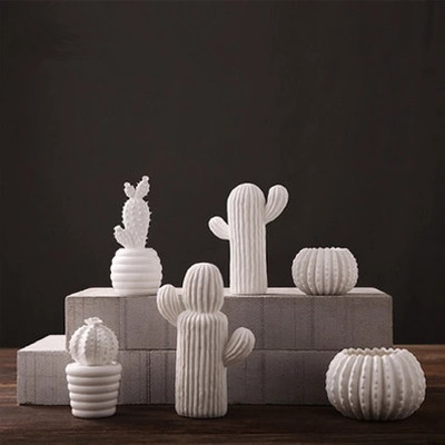Handmade creative ceramic white cactus ornaments living for Contemporary ornaments for the home