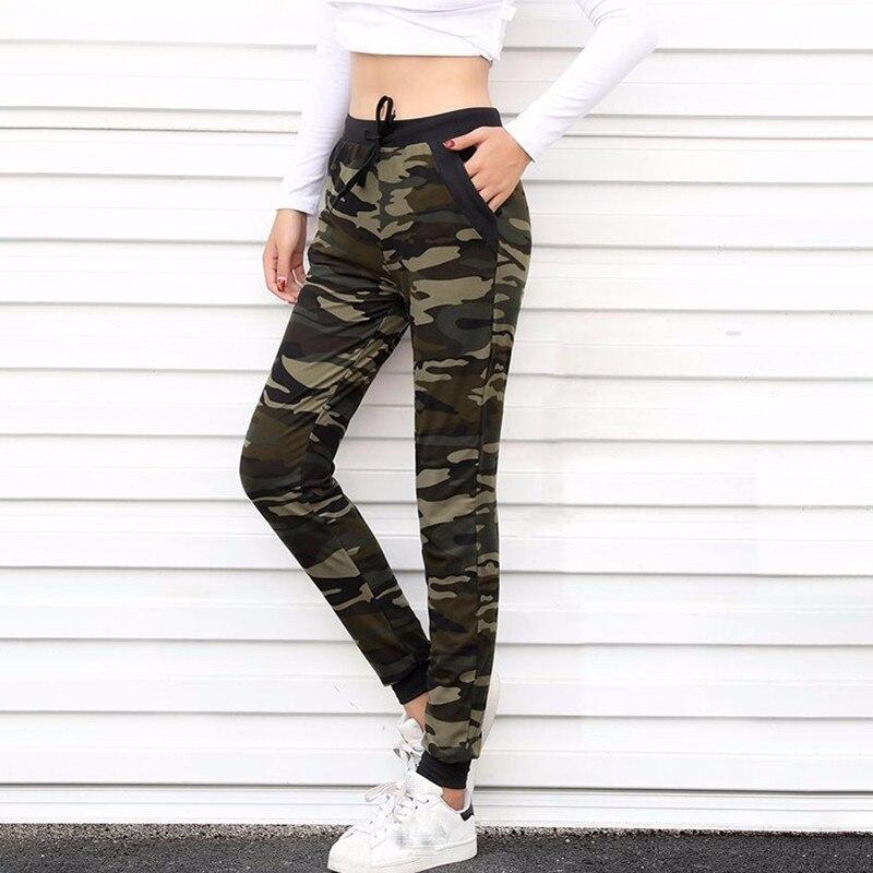 [Aosheng] 2018 las nuevas mujeres ribete camuflaje Jogger pantalones de harén suelta pantalón largo bolsillo cordón Original americano Y035