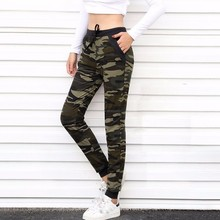 цена на 2016 New arrival Women Camouflage Jogger Pant  Ankle-Length Pant With pocket Drawstring American Original order 5020